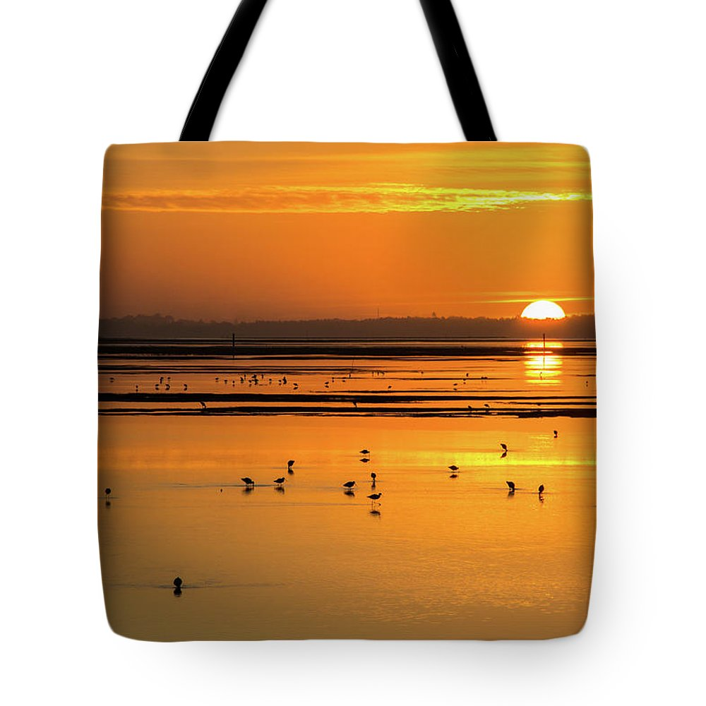 Sunsets Tote Bag featuring the photograph Sunset Over Arcata Marsh, With Avocets by Beth Partin