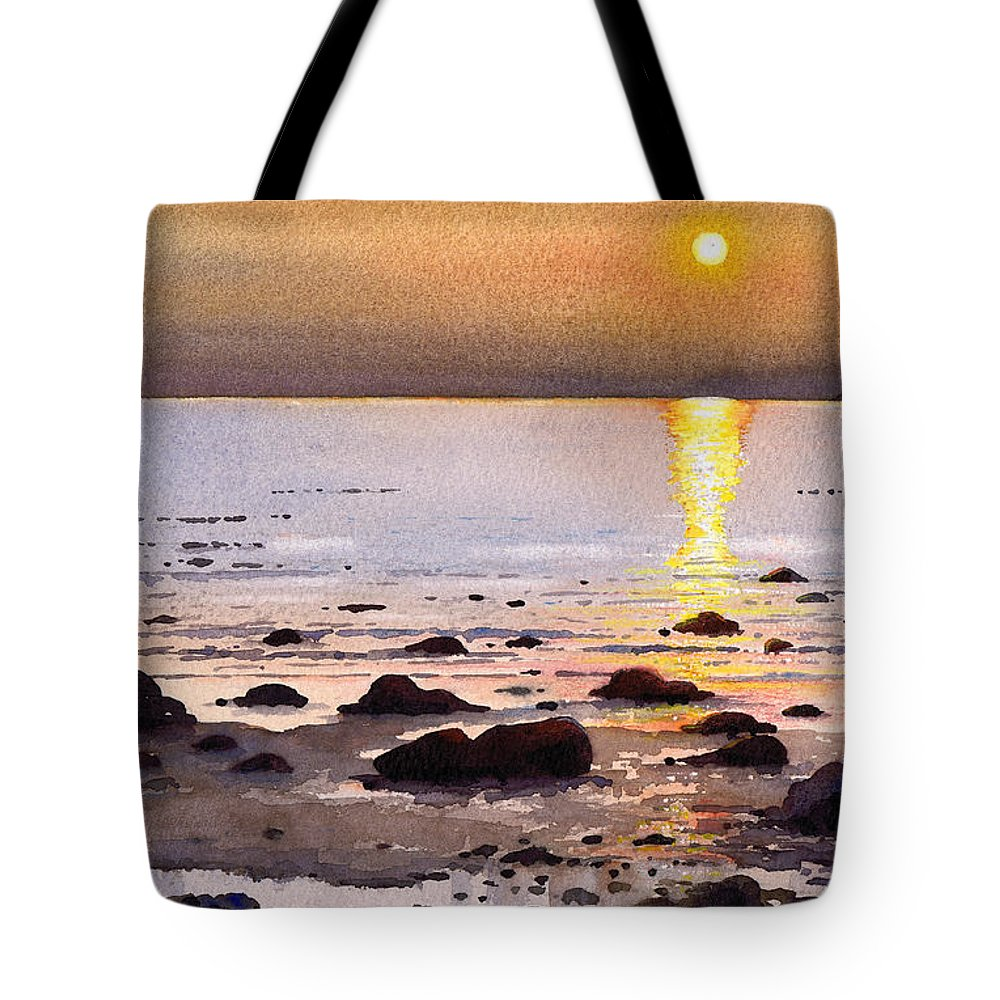 Sunset Tote Bag featuring the painting Sunset Over Cara by Paul Dene Marlor