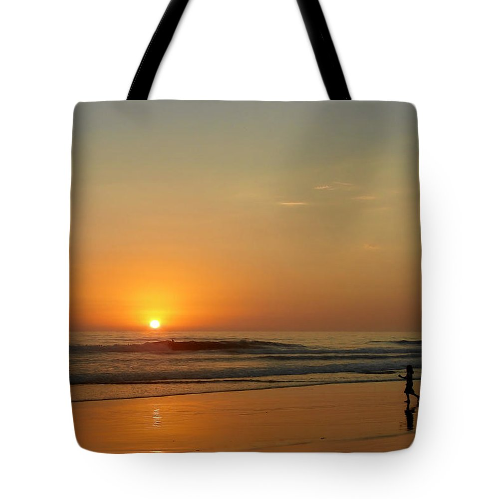 Pacific Tote Bag featuring the photograph Sunset Over La Jolla Shores by Christine Till