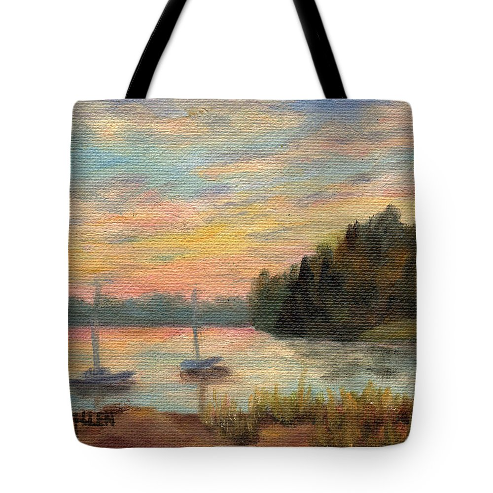 Sunset Tote Bag featuring the painting Sunset Over Massabessic by Sharon E Allen