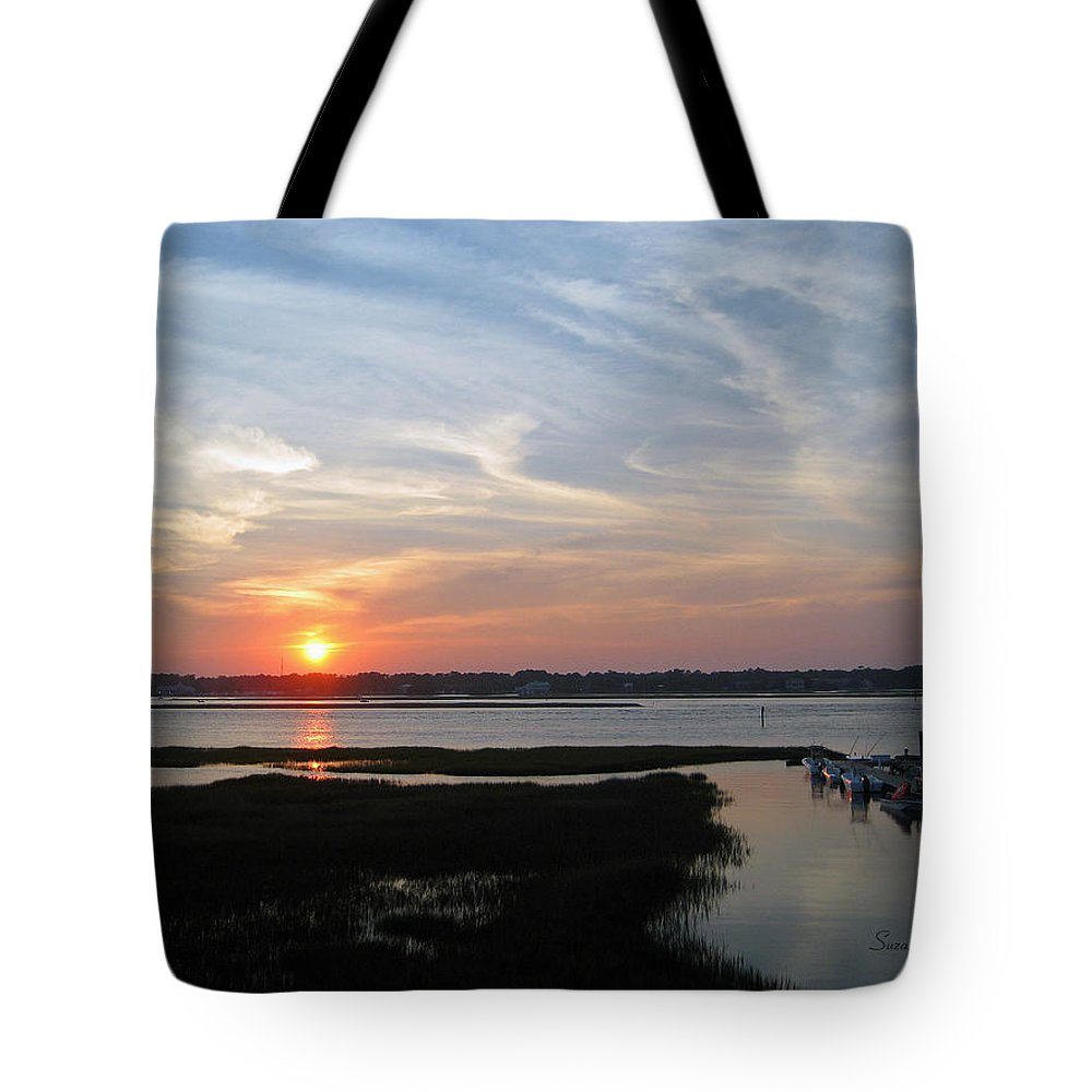 Sunset Tote Bag featuring the photograph Sunset Over Murrells Inlet by Suzanne Gaff
