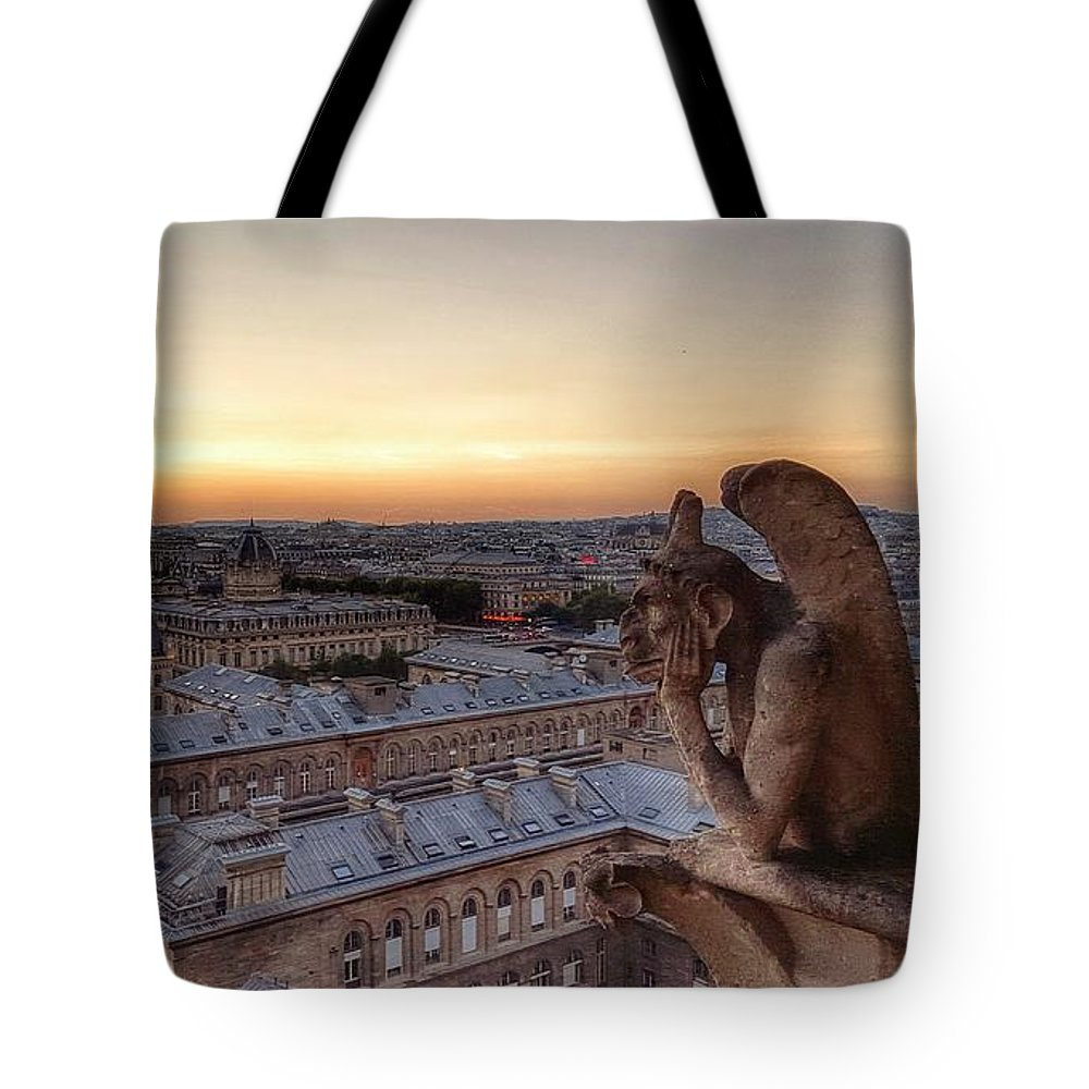 Paris Tote Bag featuring the painting Sunset Over Paris by David Hinchen
