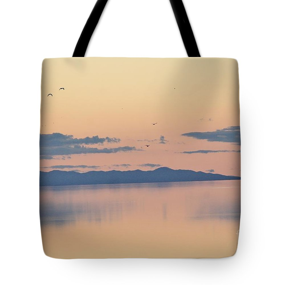 Nature Tote Bag featuring the photograph Sunset Over The Great Salt Lake by Tonya Hance