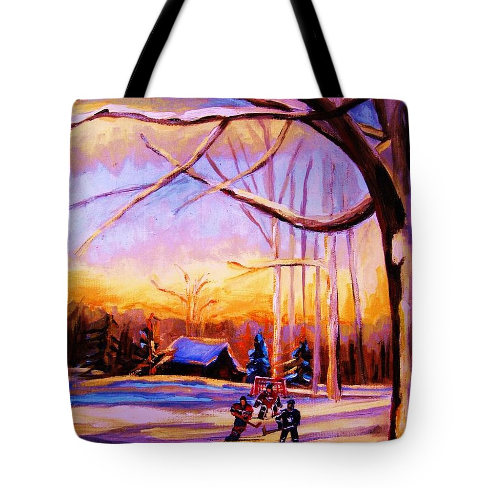 Sunset Over Hockey Tote Bag featuring the painting Sunset Over The Hockey Game by Carole Spandau