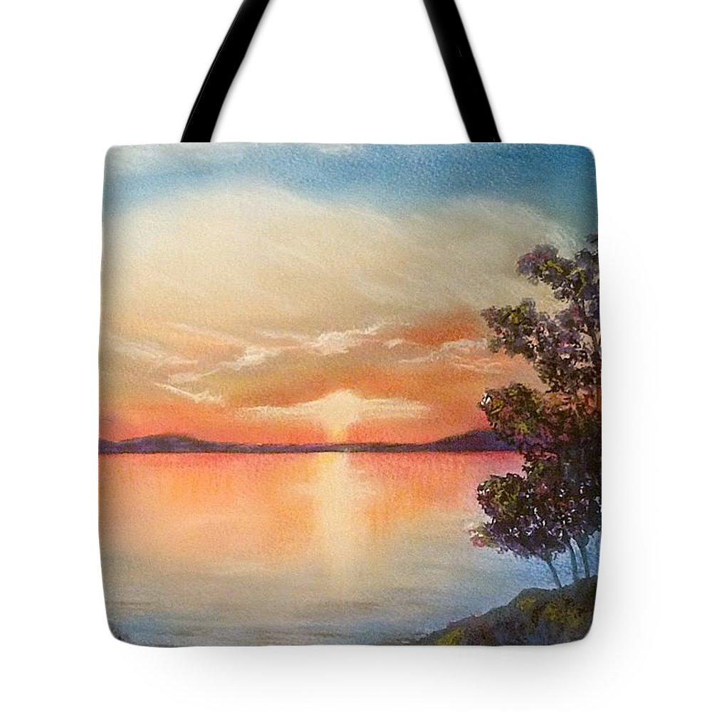 Painting Tote Bag featuring the painting Sunset Over The Lake by Fiona Rowley