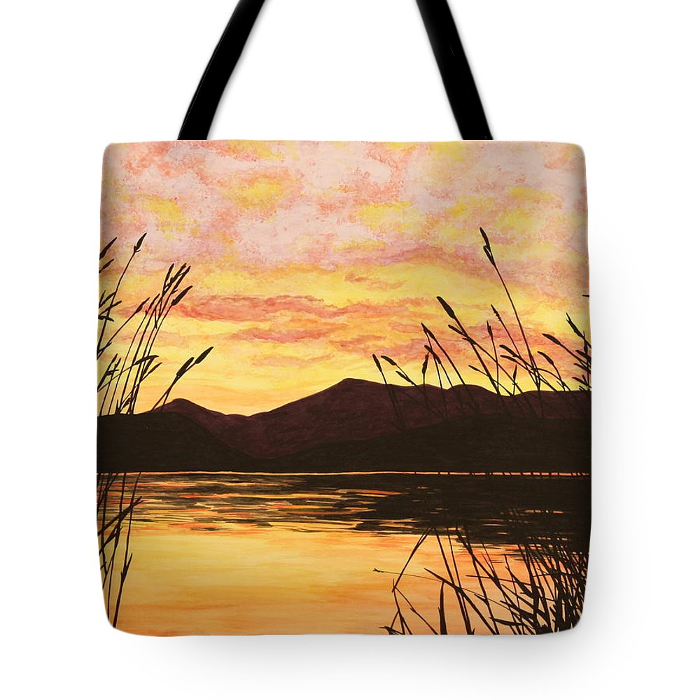 Sunset Tote Bag featuring the painting Sunset Over The Water by Michelle Miron-Rebbe