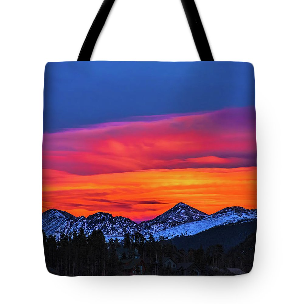 Sunset Tote Bag featuring the photograph Sunset Over Torreys And Grays Peaks by Stephen Johnson