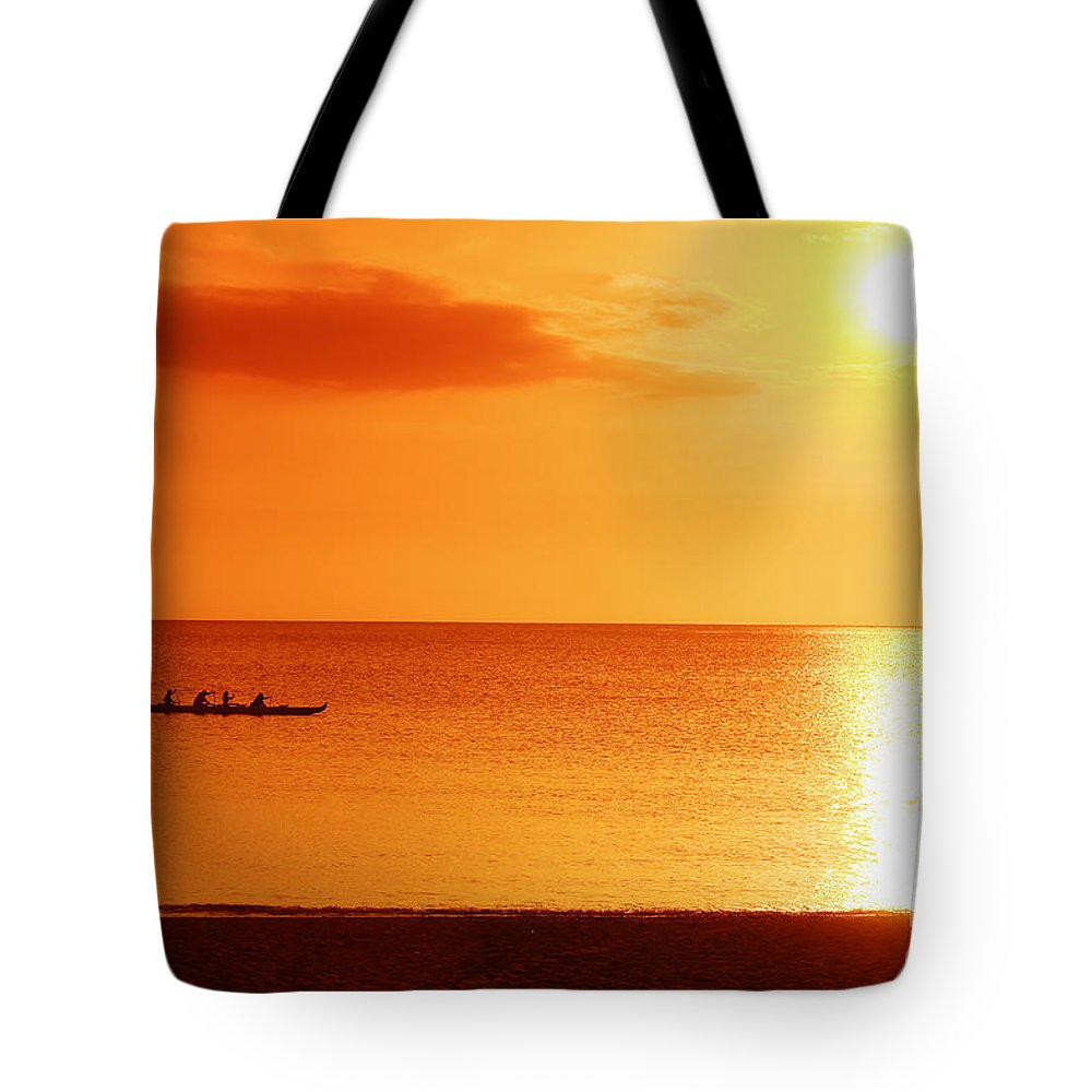 Boat Tote Bag featuring the photograph Sunset Paddle by Vince Cavataio - Printscapes