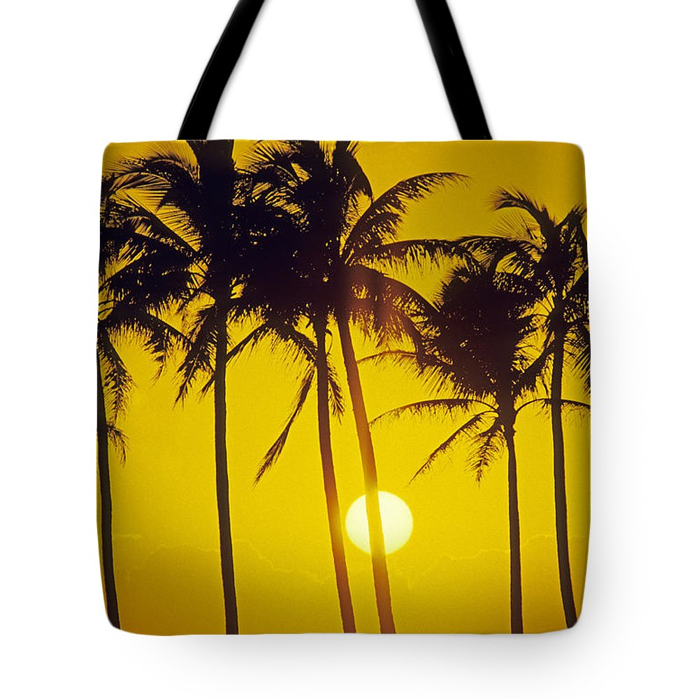 Adult Tote Bag featuring the photograph Sunset Palms And Family by Carl Shaneff - Printscapes