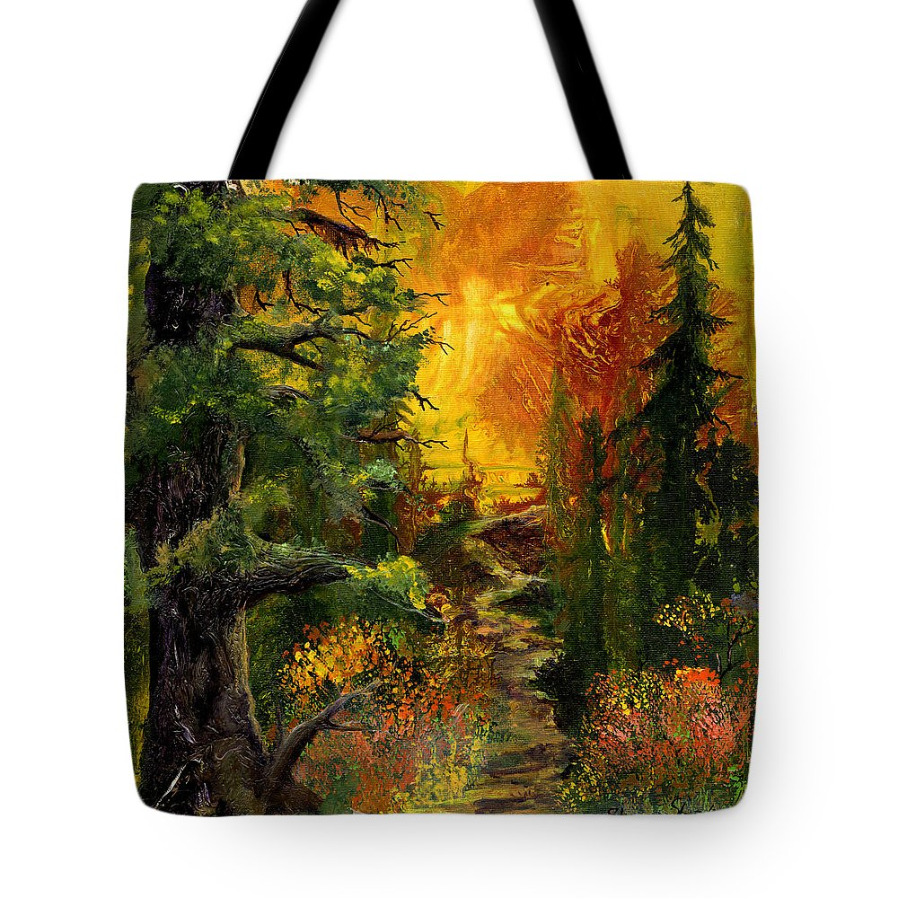 Sunset Tote Bag featuring the painting Sunset Path by Sherry Shipley