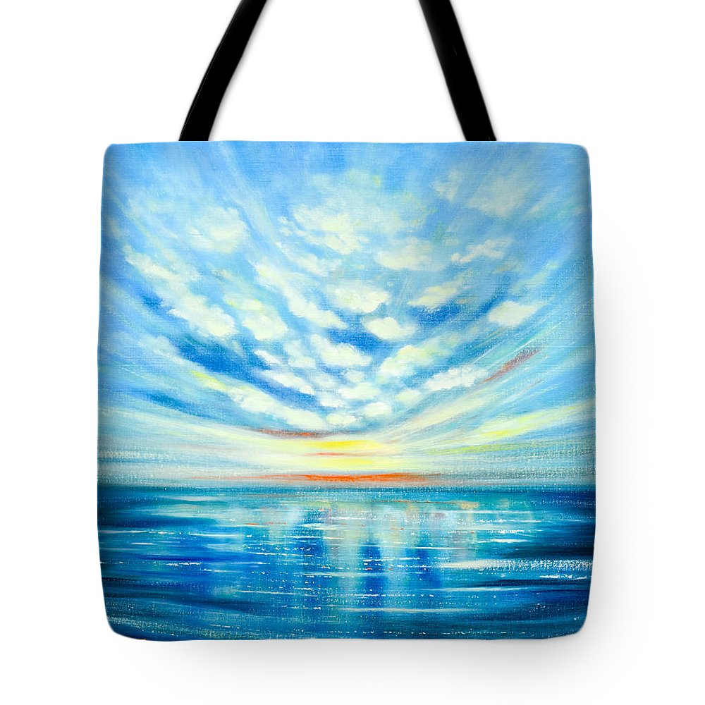 Blue Tote Bag featuring the painting Sunset Quest Blue by Gina De Gorna