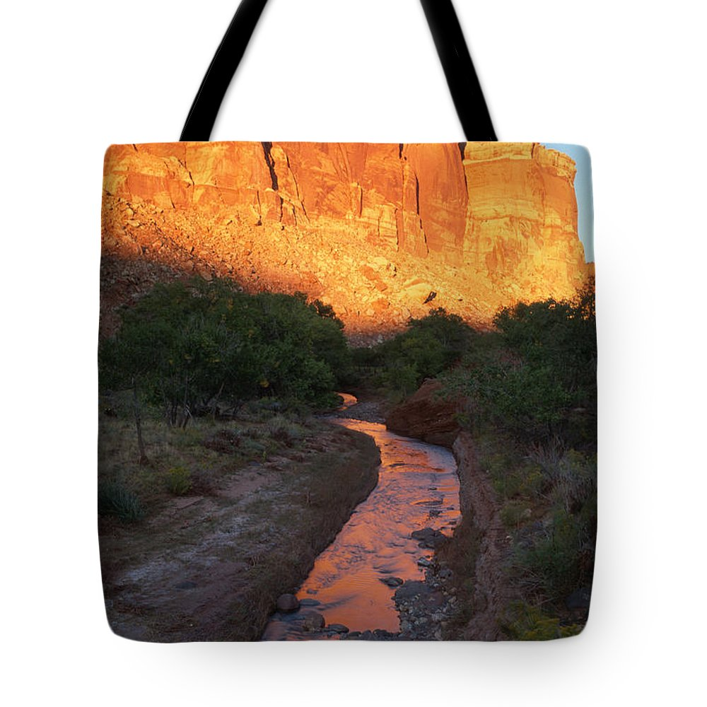 Southwest Tote Bag featuring the photograph Sunset Reflection - Fremont River by Sandra Bronstein