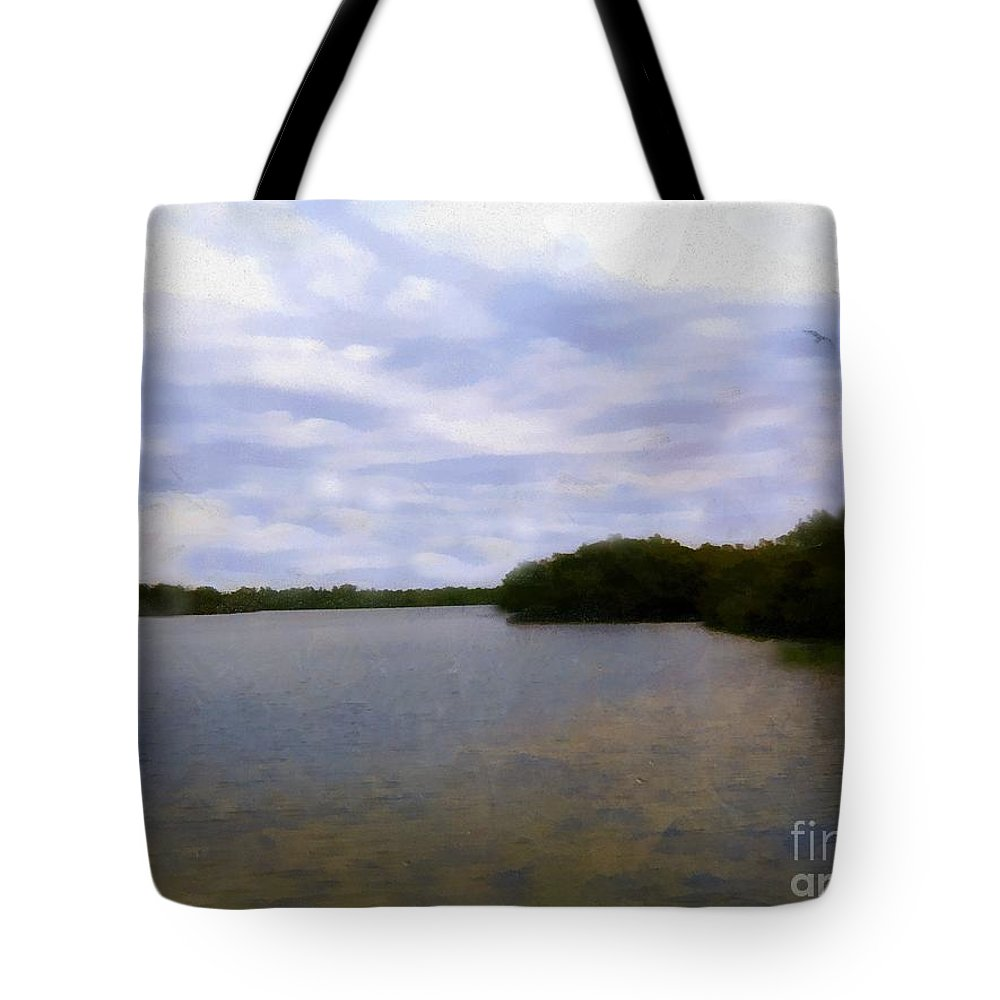 River Tote Bag featuring the painting Sunset River by RC DeWinter