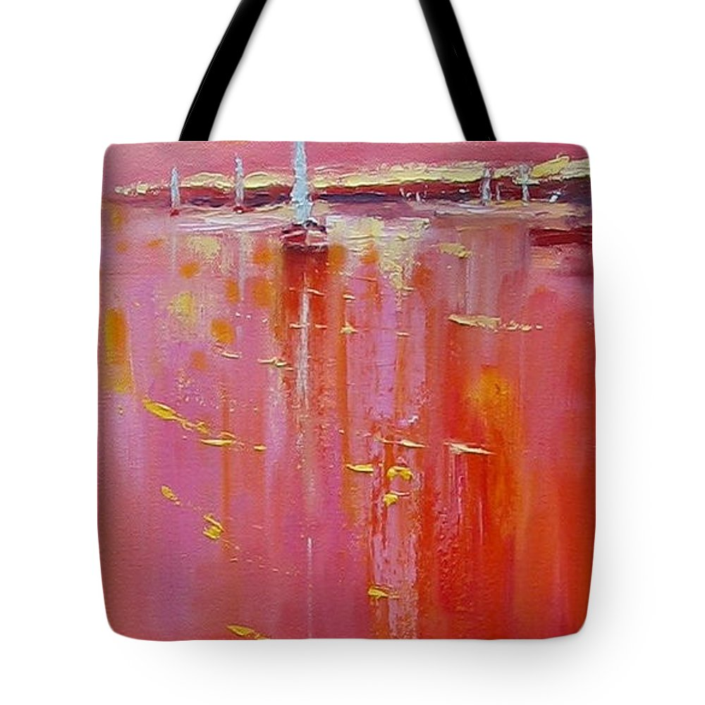 Oil Painting Tote Bag featuring the painting Sunset Sail by Laura Lee Zanghetti