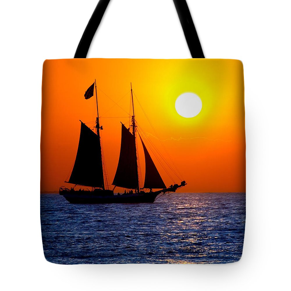 Yellow Tote Bag featuring the photograph Sunset Sailing In Key West Florida by Michael Bessler