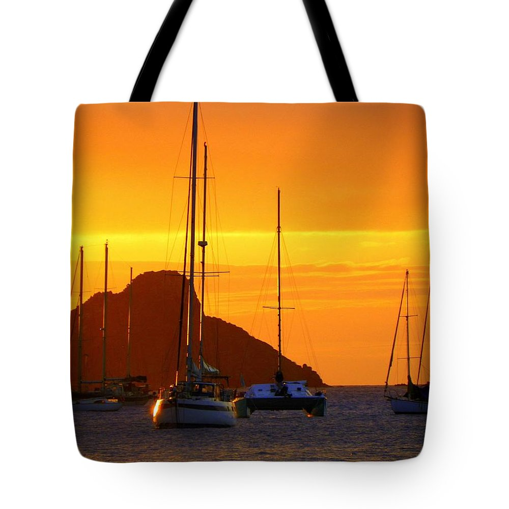 Sunsets Tote Bag featuring the photograph Sunset Sails by Karen Wiles