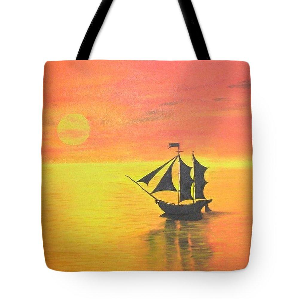 Sunrise Tote Bag featuring the painting Sunrise Sea Ship Sss by Riya Rathore