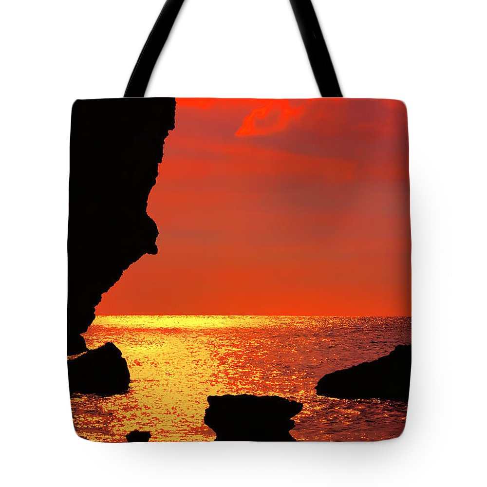 Golden Rays Tote Bag featuring the photograph Sunset Silhouettes by Nadia Sanowar