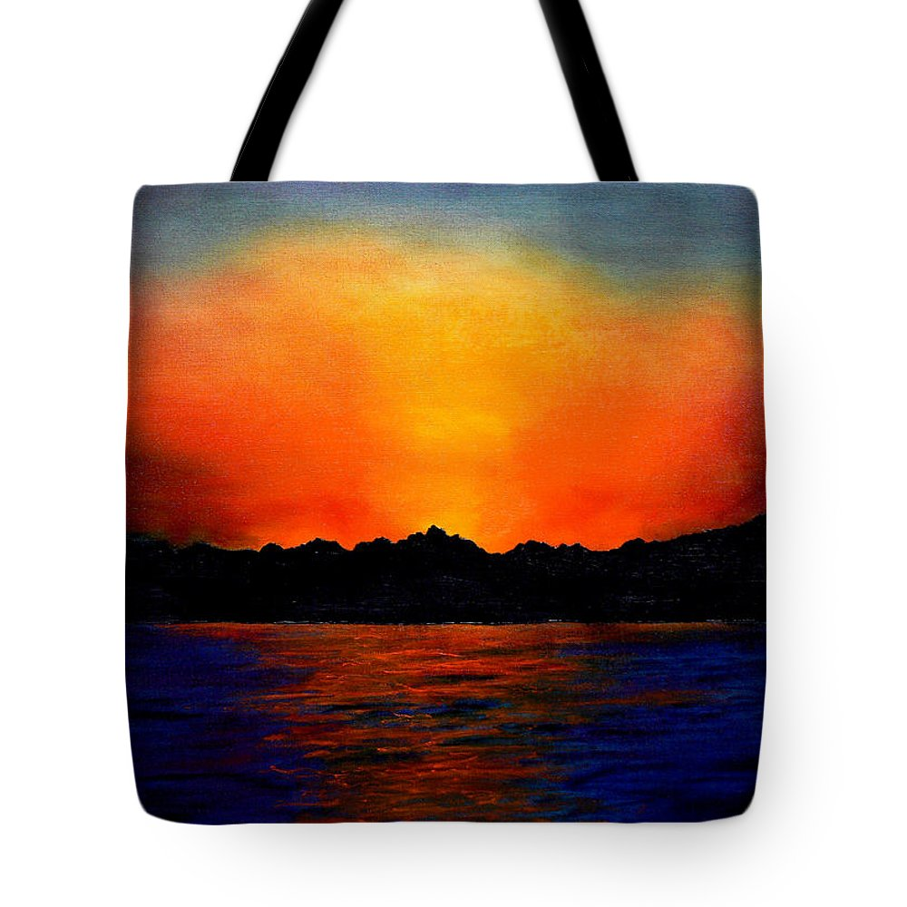 Sinai Sunset Tote Bag featuring the painting Sunset Sinai by Helmut Rottler