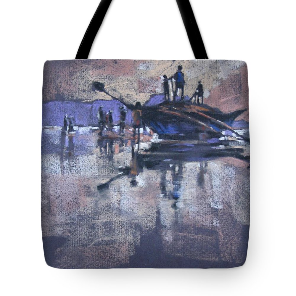 Beach Tote Bag featuring the painting Sunset by Snehal Page