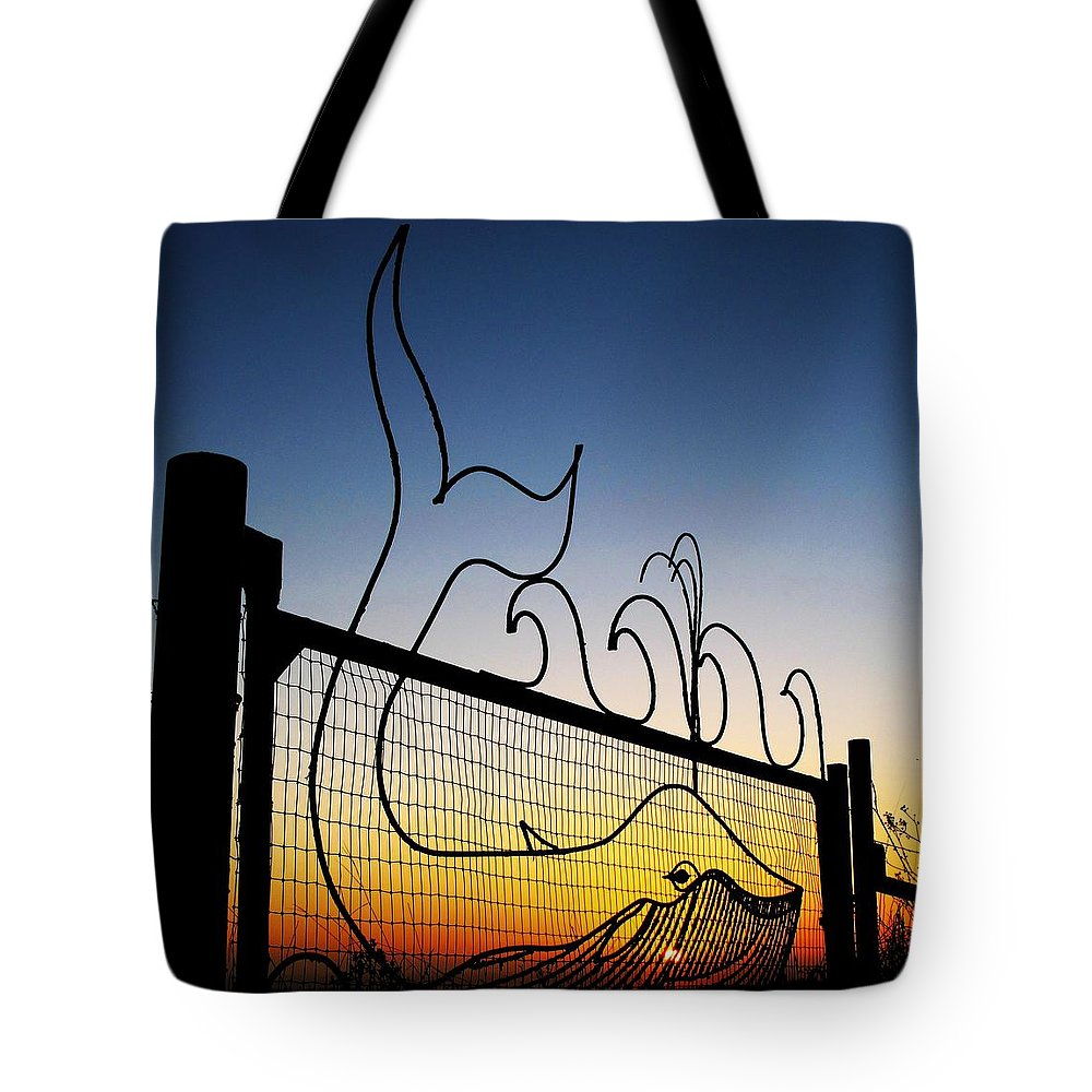 Whales Tote Bag featuring the photograph Sunset Spouting Whale by John King