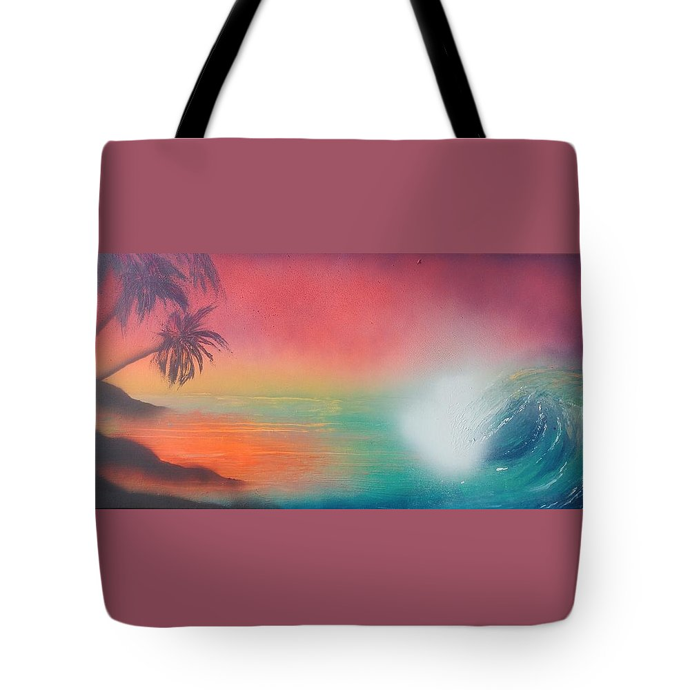 Ocean Tote Bag featuring the painting Sunset Spray by James Bender