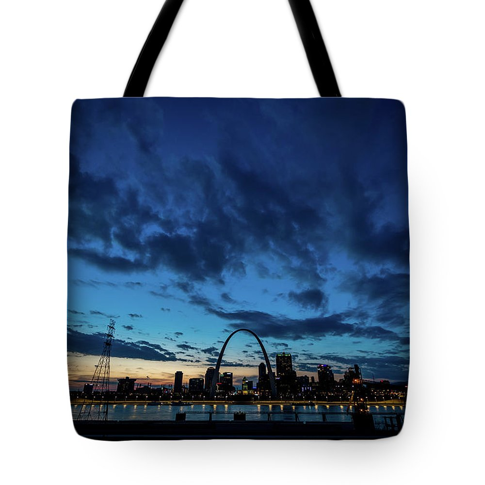 St Louis Sunset Skyline Twilight Dusk River City Urban Arch Blue Tote Bag featuring the photograph Sunset St. Louis IIi by Matthew Chapman