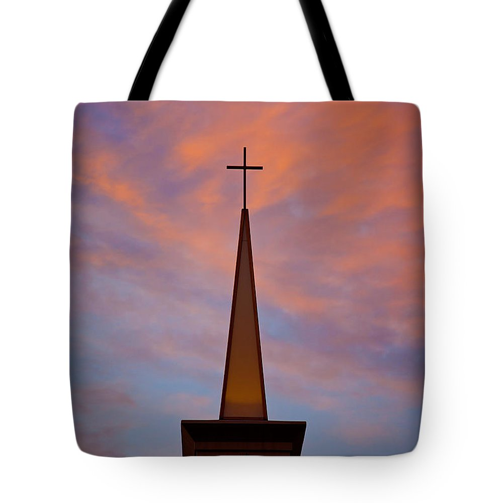 Church Tote Bag featuring the photograph Sunset Steeple by Toni Hopper