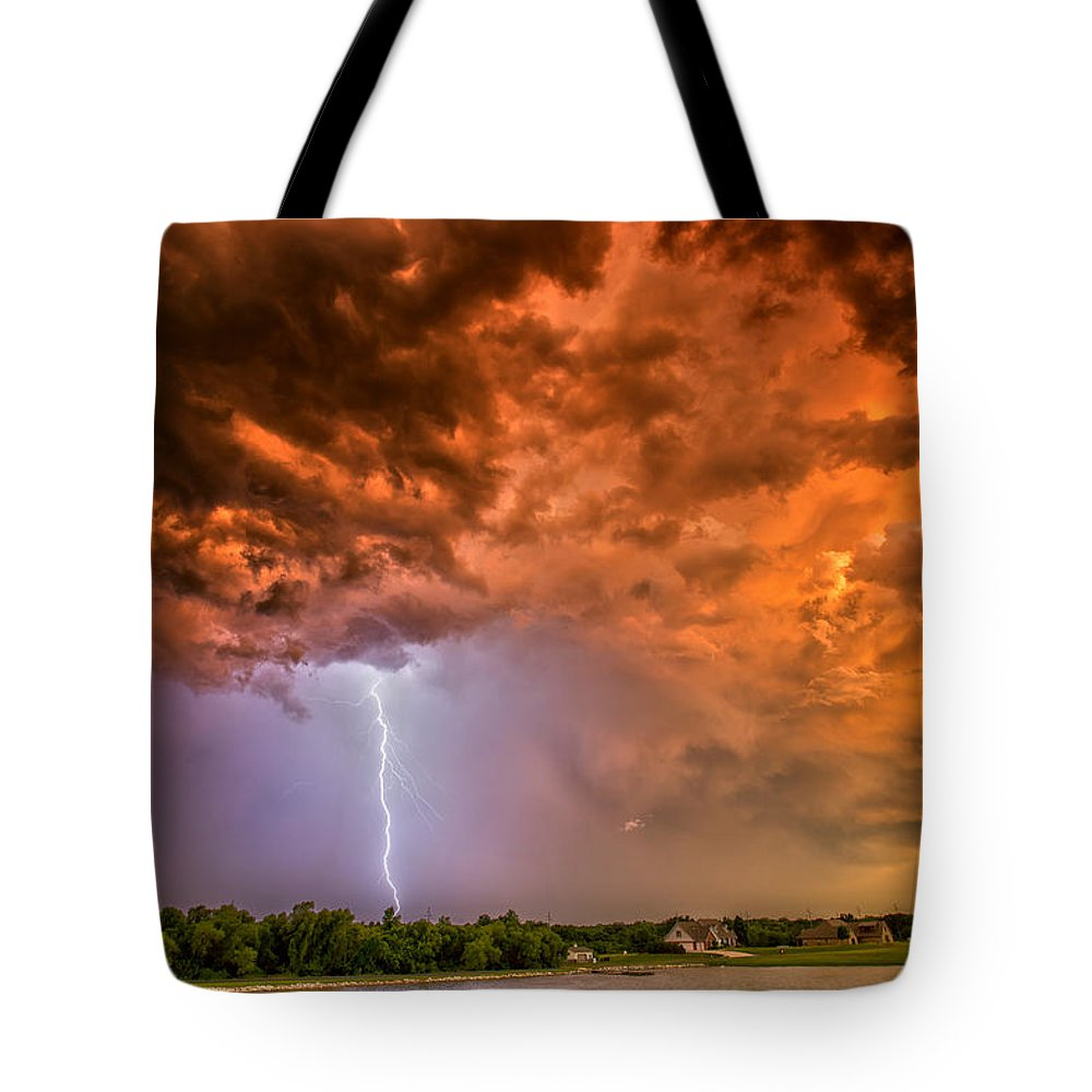 Supercell Tote Bag featuring the photograph Sunset Strike by James Menzies