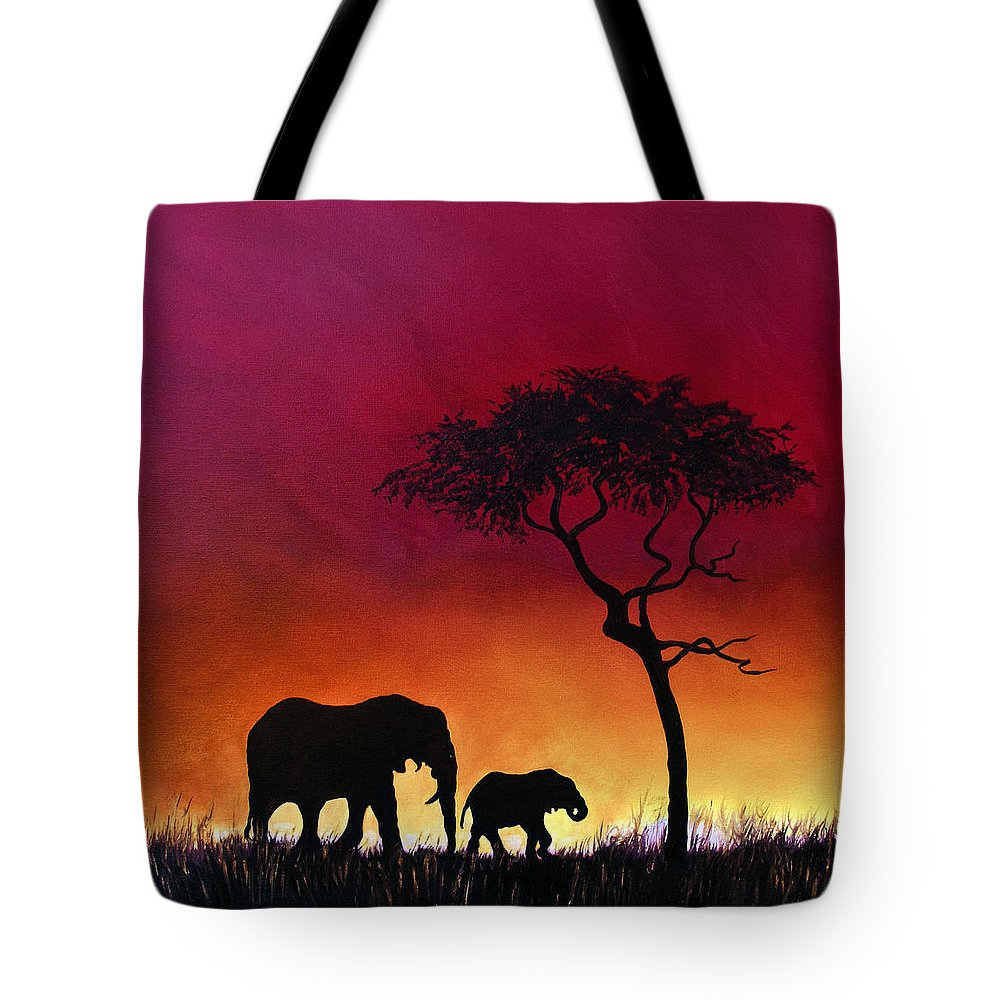 Elephants Tote Bag featuring the painting Sunset Stroll by Linda Woodward