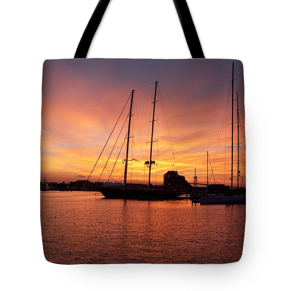 Sunset Tote Bag featuring the photograph Sunset Tall Ships by Steven Natanson
