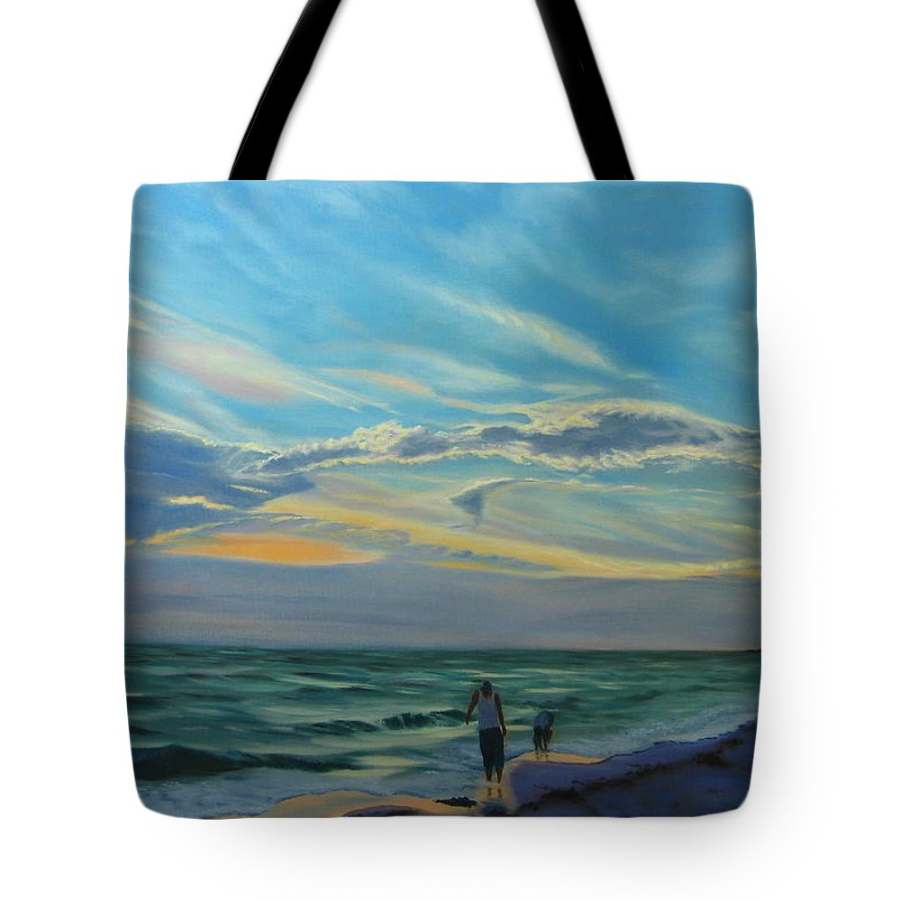 Seascape Tote Bag featuring the painting Sunset Treasure Hunt by Lea Novak