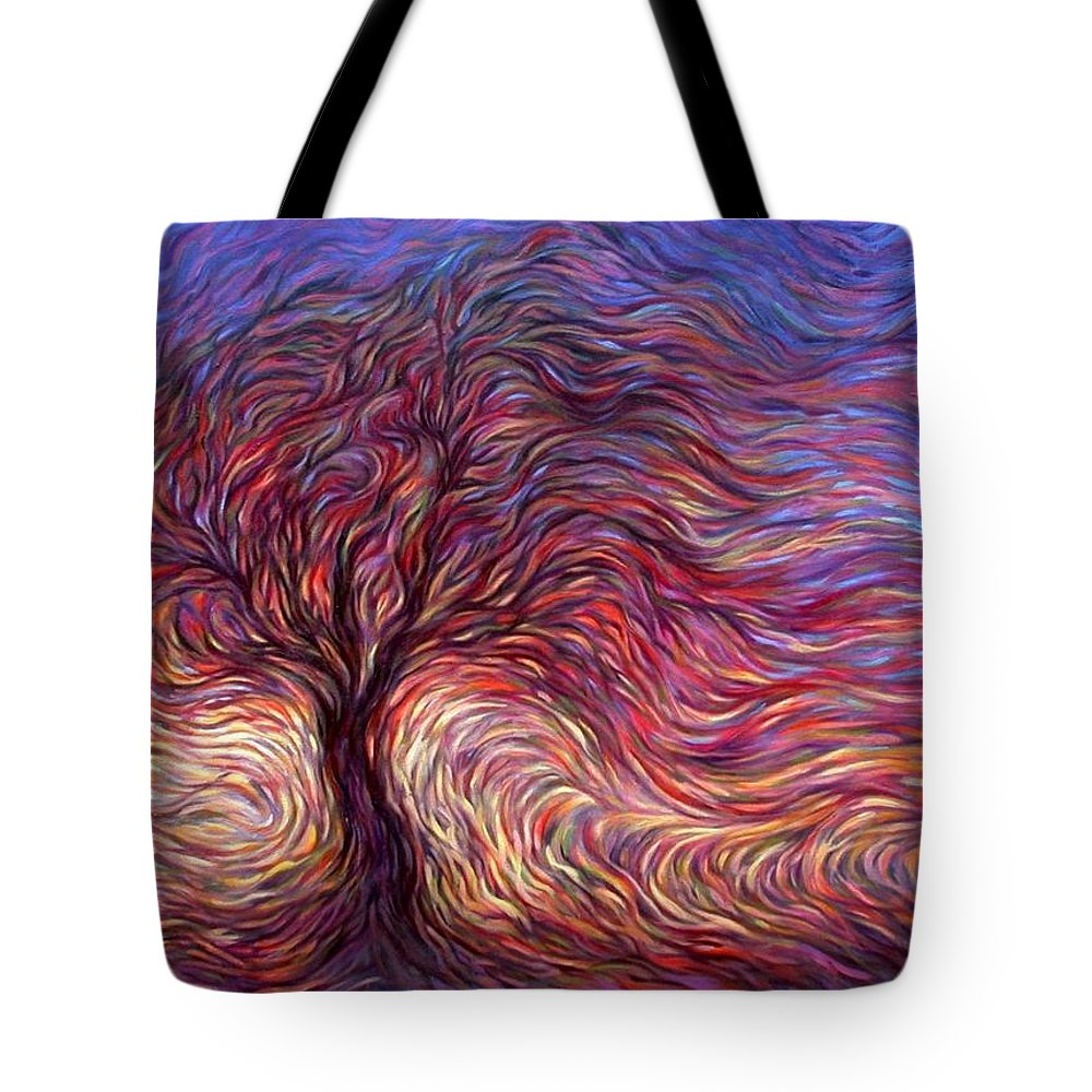 Tree Tote Bag featuring the painting Sunset Tree by Hans Droog