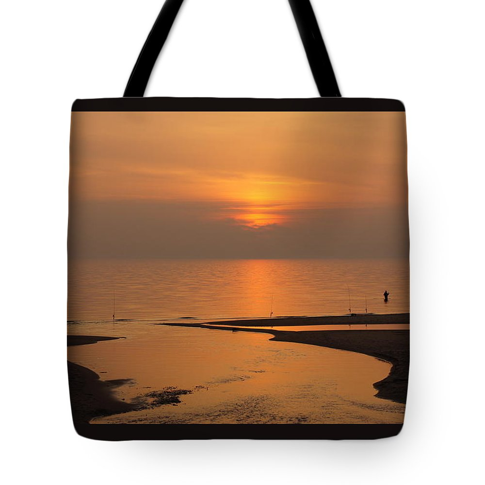 Landscape Waterscape Fishing Lake Michigan River Mouth Muskegon Tote Bag featuring the photograph Sunset While Fishing At River Mouth And Lake Michigan by Rosemarie E Seppala