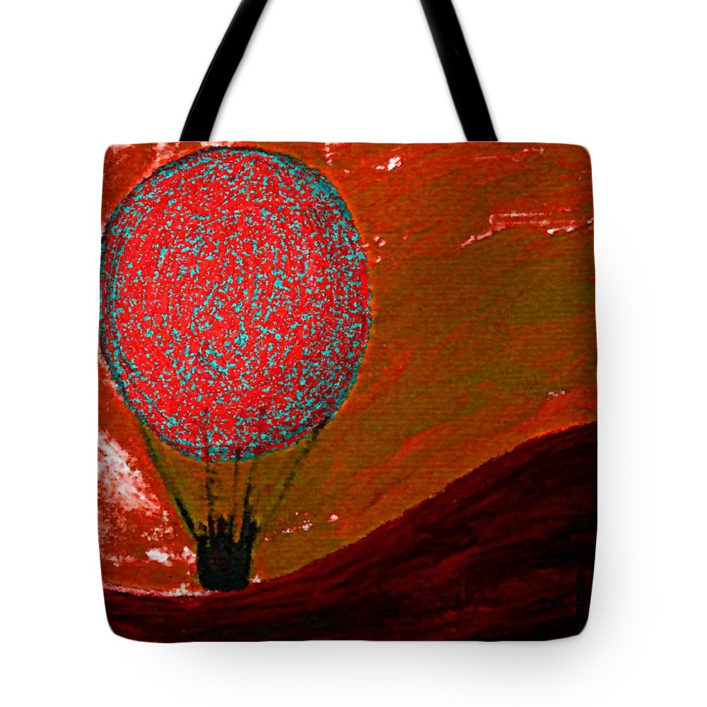 Sunset Tote Bag featuring the mixed media Sunset With Red Hot Air Balloon. by Lenka Rottova