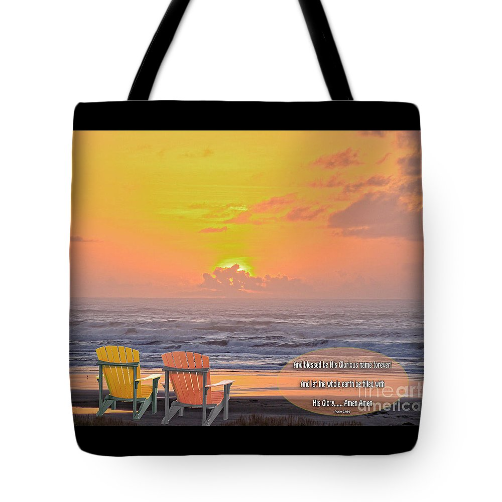 Scripture Art Tote Bag featuring the photograph Sunset With Scripture by Beverly Guilliams