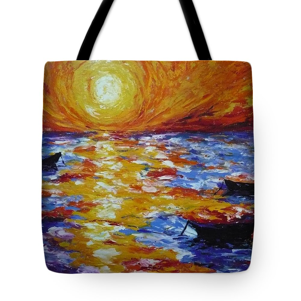 Landscape Tote Bag featuring the painting Sunset With Three Boats by Ericka Herazo