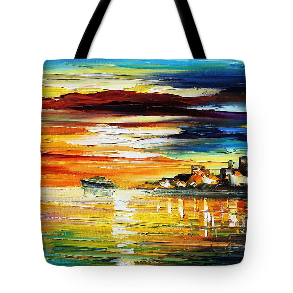 Afremov Tote Bag featuring the painting Sunset's Smile by Leonid Afremov