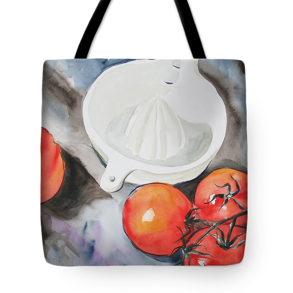Tomatoes Tote Bag featuring the painting Sunshine On The Vine by Jean Blackmer