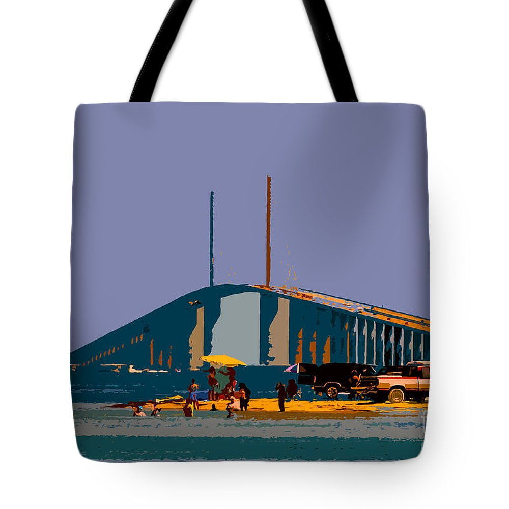 Sunshine Skyway Bridge Tote Bag featuring the photograph Sunshine Skyway by David Lee Thompson