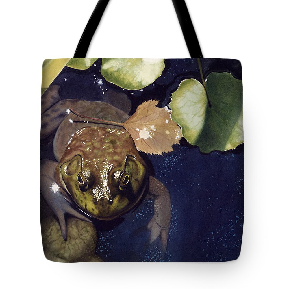 Frog Tote Bag featuring the painting Sunspots by Denny Bond