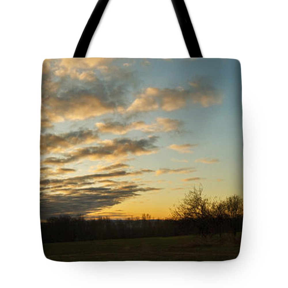 Landscape Tote Bag featuring the photograph Sunup On The Farm by Chris Bordeleau