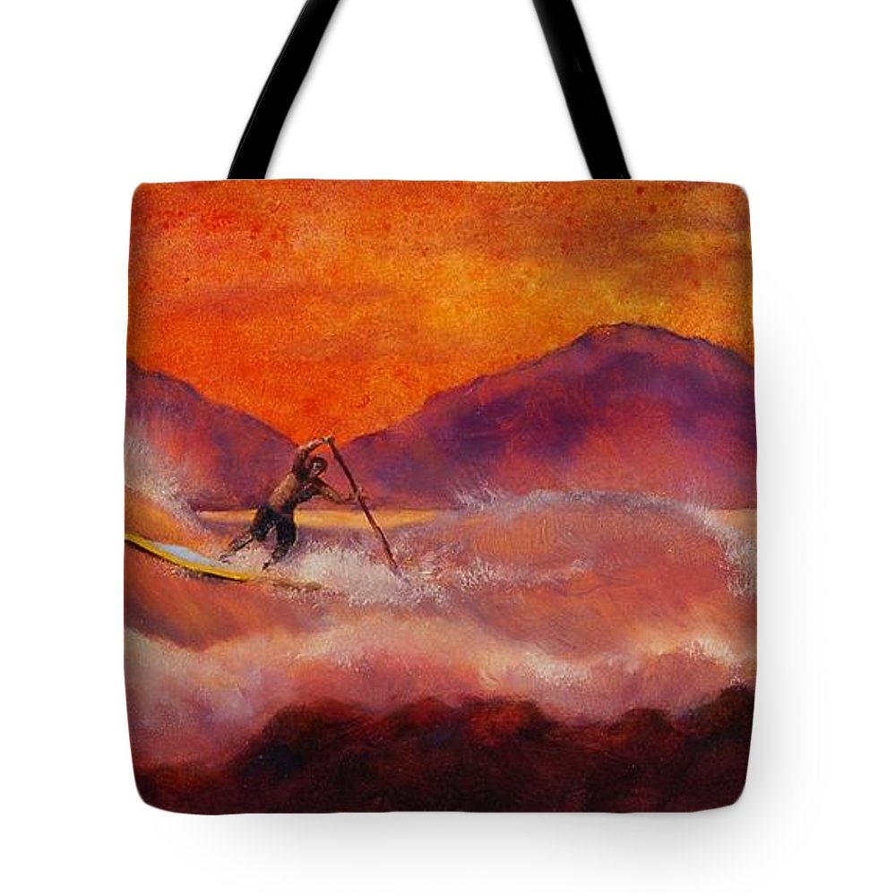 Standup Paddleboarding Tote Bag featuring the painting S.u.p. by Lynee Sapere