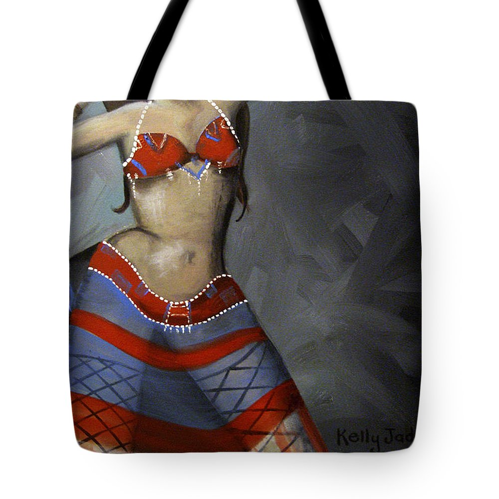 Dancer Tote Bag featuring the painting Super Dancing Wonder Woman by Kelly Jade King