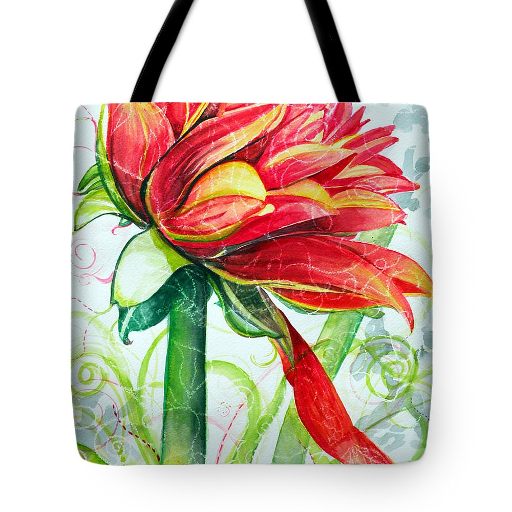 Floral Tote Bag featuring the painting Ruby by Christine Belt