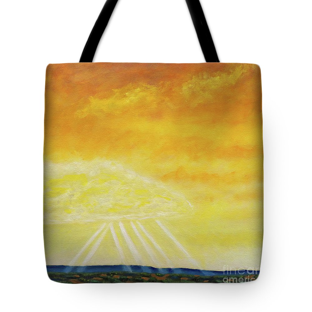 Landscape Tote Bag featuring the painting Super Seven by Brian Commerford