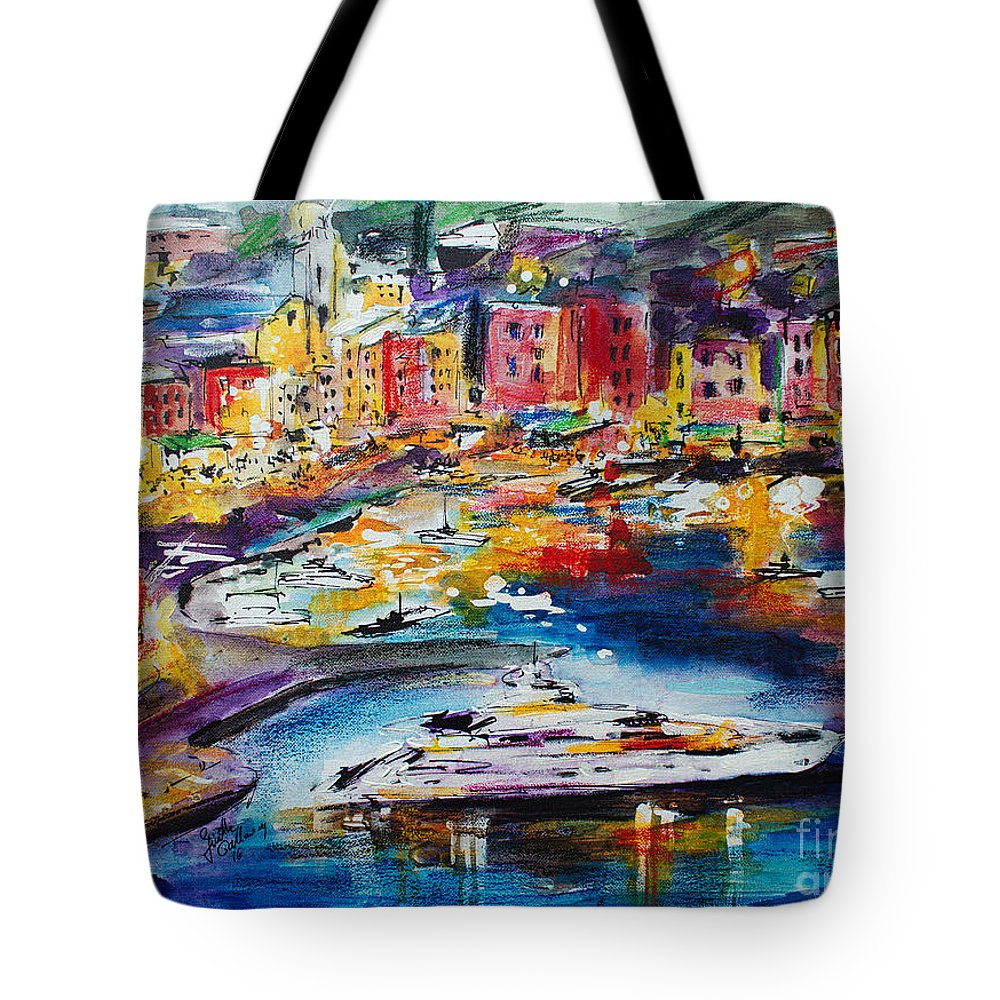 Portofino Tote Bag featuring the painting Evening in Portofino Italy Super Yacht Travel by Ginette Callaway
