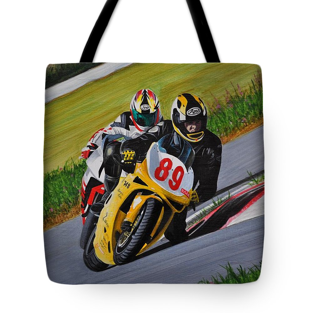 Motorcycle Tote Bag featuring the painting Superbikes by Kenneth M Kirsch