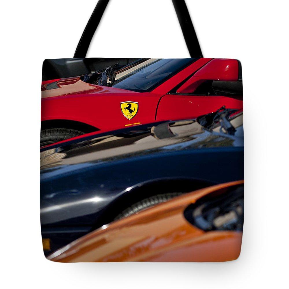 Ferrari Tote Bag featuring the photograph Supercars Ferrari Emblem by Jill Reger