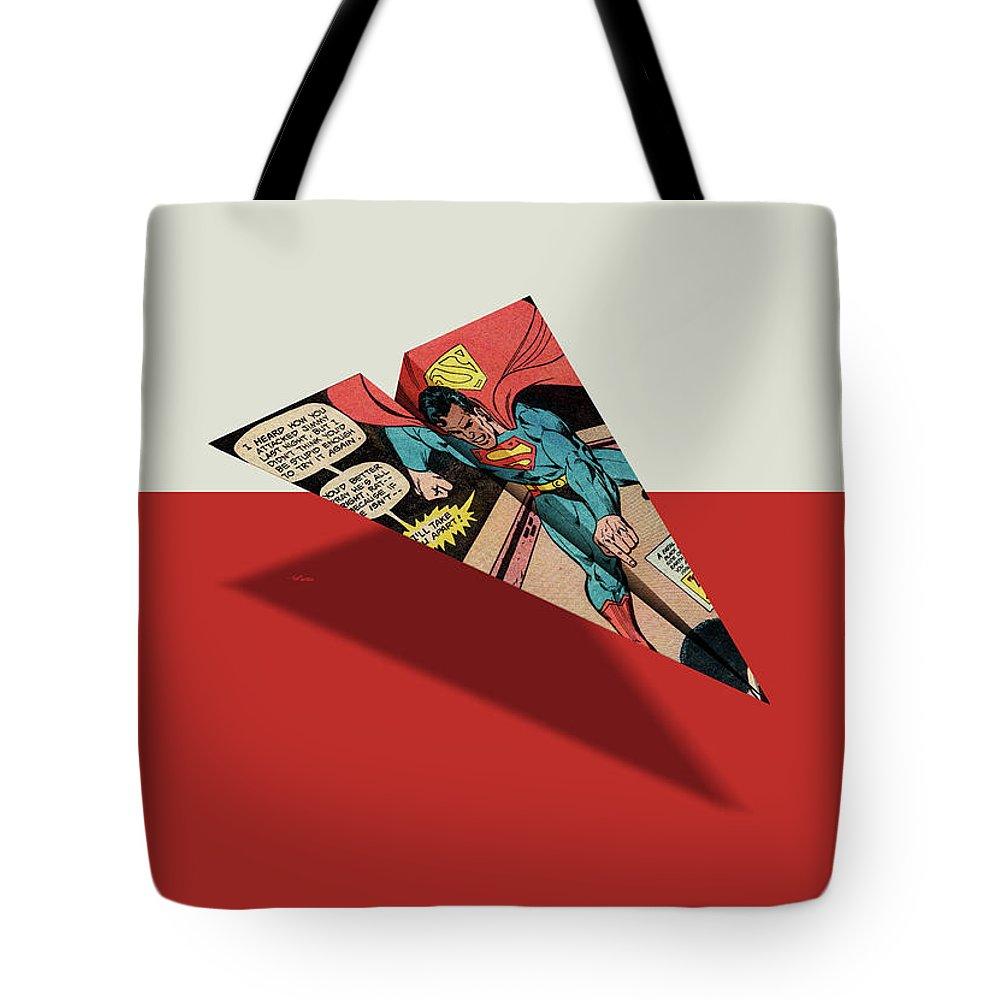 ba23b5ac1ad1 Ad Tote Bag featuring the digital art Superhero Showdown Ad6 Comic Book  Paper Airplane by YoPedro
